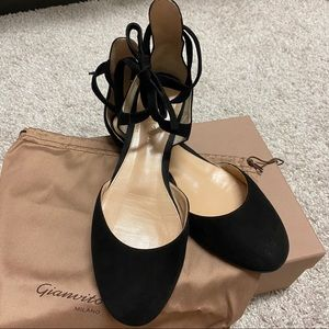 GIANVITO ROSSI Pina lace-up suede ballet flats